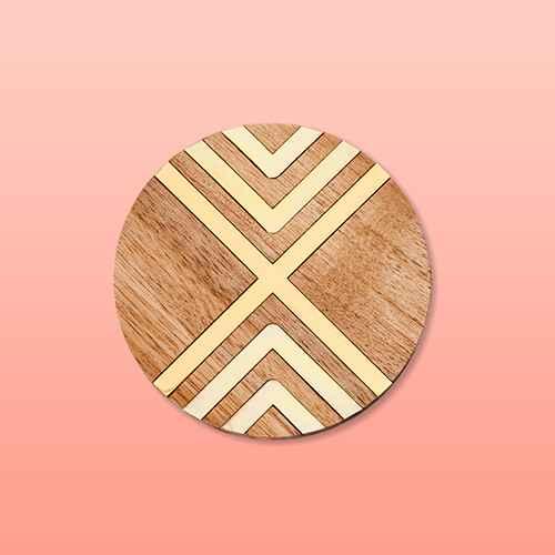 Set of 4 Coasters Natural Acacia with Gold Metal - Threshold™