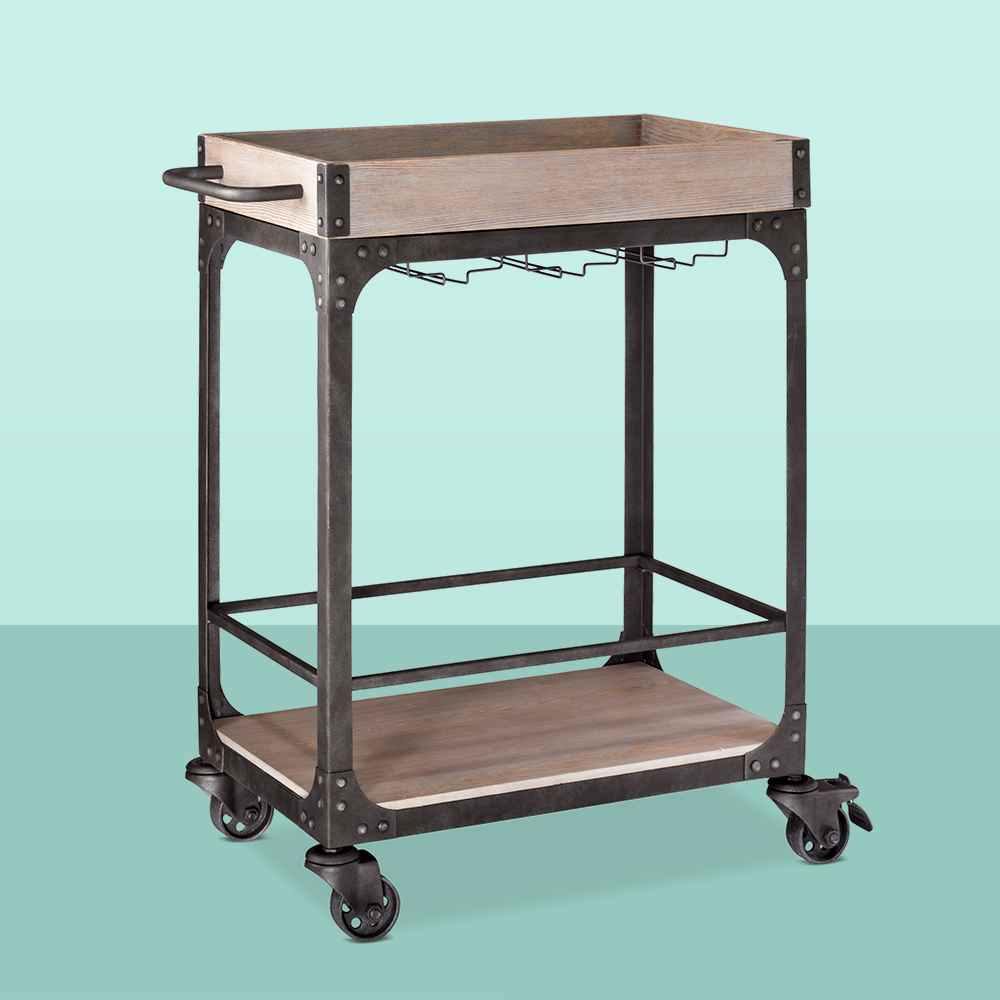 Franklin Bar Cart and Wine Rack Weathered Gray - Threshold™