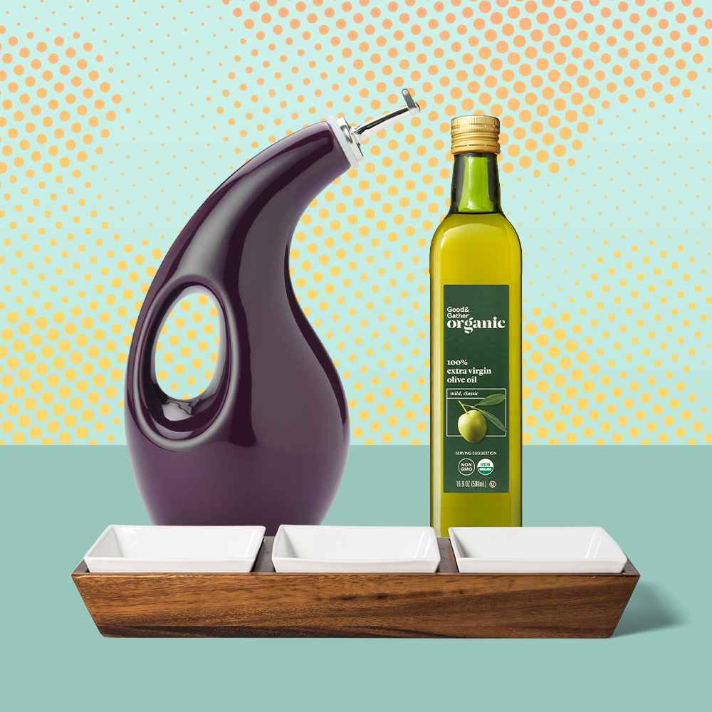 Rachael Ray 24oz Stoneware Extra Virgin Olive Oil Dispenser Bottle Purple, Organic Extra Virgin Olive Oil - 16.9oz - Good & Gather™, 4pc Acacia Wood 3 Section Serving Bowl with Ceramic Inserts Brown - Threshold™
