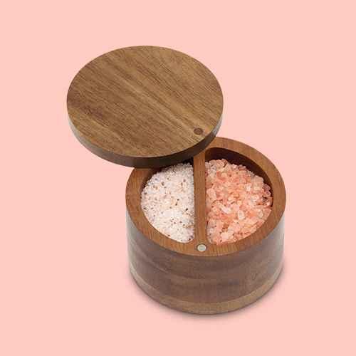 Lipper International Acacia Divided Salt Box with Swivel Cover, Himalayan Pink Salt Grinder - 4.4oz - Good & Gather™
