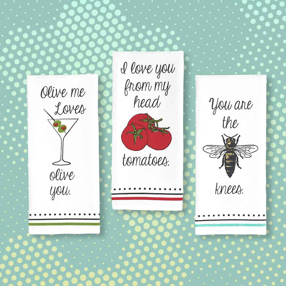 3pk Love You Printed Kitchen Towels Red - Design Imports