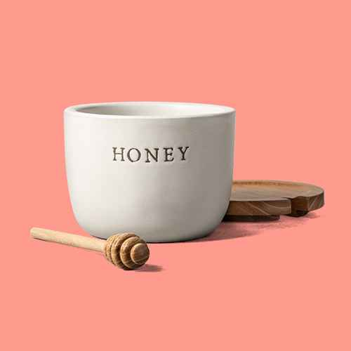 Stoneware Honey Pot with Acacia Wood Dipper and Lid - Hearth & Hand™ with Magnolia, Pure Clover Honey - 40oz - Good & Gather™