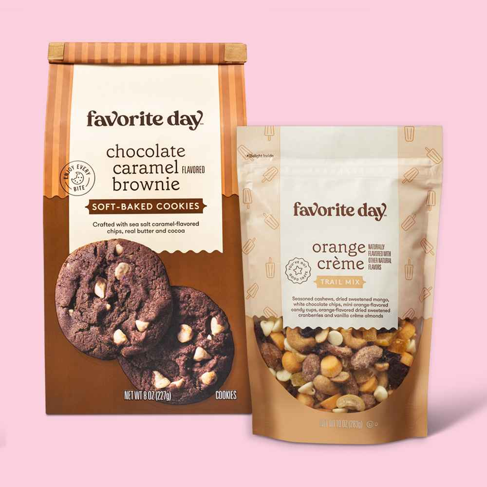 Soft Baked Chocolate Caramel Flavored Brownie Cookie - 8oz - Favorite Day™, Orange Crème Swirl Trail Mix - 10oz - Favorite Day™