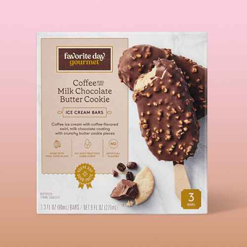 Coffee Ice Cream with Coffee Sauce and Milk Chocolate Butter Cookie Bar - 3ct - Favorite Day™, Vanilla Caramel Almond Chocolate Ice Cream Bar - 3ct - Favorite Day™