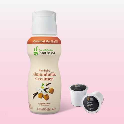 Plant Based Caramel Vanilla Non-Dairy Almondmilk Creamer - 1pt - Good & Gather™, Signature Organic Espresso Blend Dark Roast Coffee - 16ct Single Serve Pods - Good & Gather™