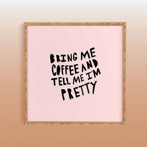 """20""""x20"""" Allyson Johnson Bring Me Coffee Pink Framed Wall Art Poster Print Pink - Deny Designs"""