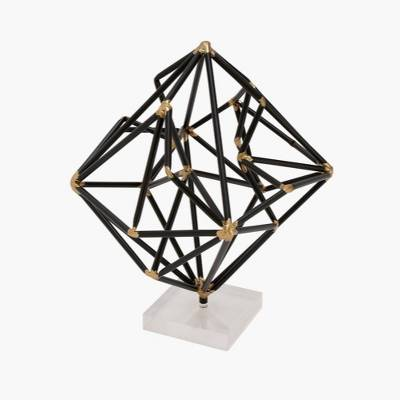 Decorative Sculpture - Black/Gold/White - Olivia & May