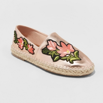 Women's Evangeline Embroidered Espadrille Sneakers - A New Day™ Rose Gold