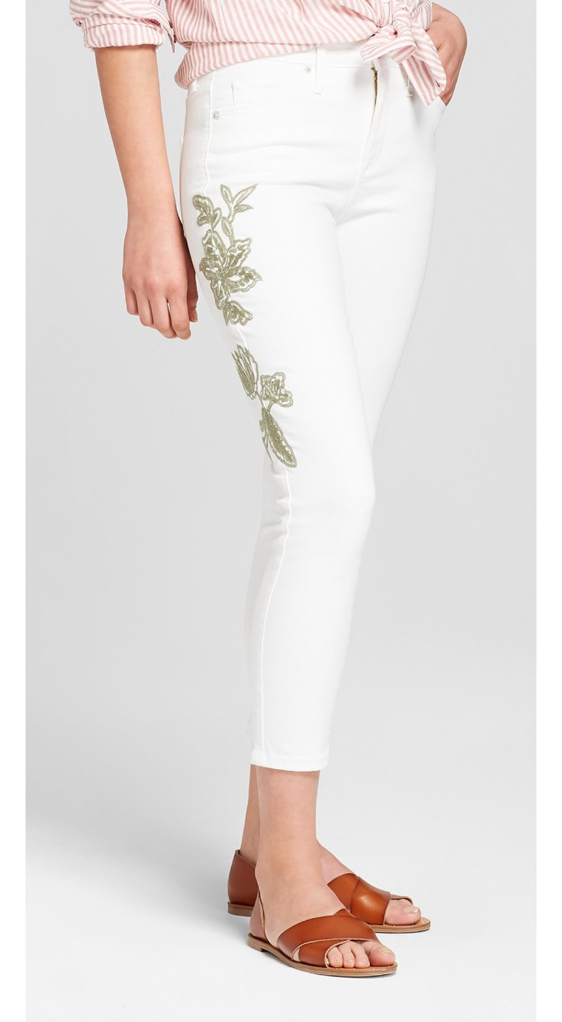 Women's High-Rise Embroidered Skinny Crop Jeans - Universal Thread™ White