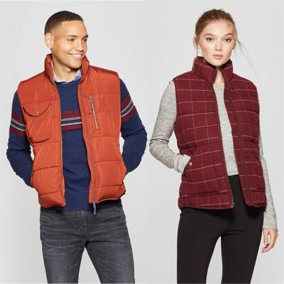 Men's Puffer Vest - Goodfellow & Co™, Women's Plaid Puffer Vest - A New Day™ Burgundy