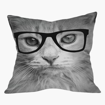 "Light Gray Allyson Johnson Hippest Cat Throw Pillow (20""x20"") - Deny Designs®"