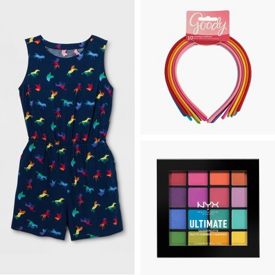 Pride Adult Unicorn Printed Romper - Navy, Goody® Girls' Value Shoestring Fabric Headbands - 10ct, NYX Professional Makeup Ultimate Eyeshadow Palette
