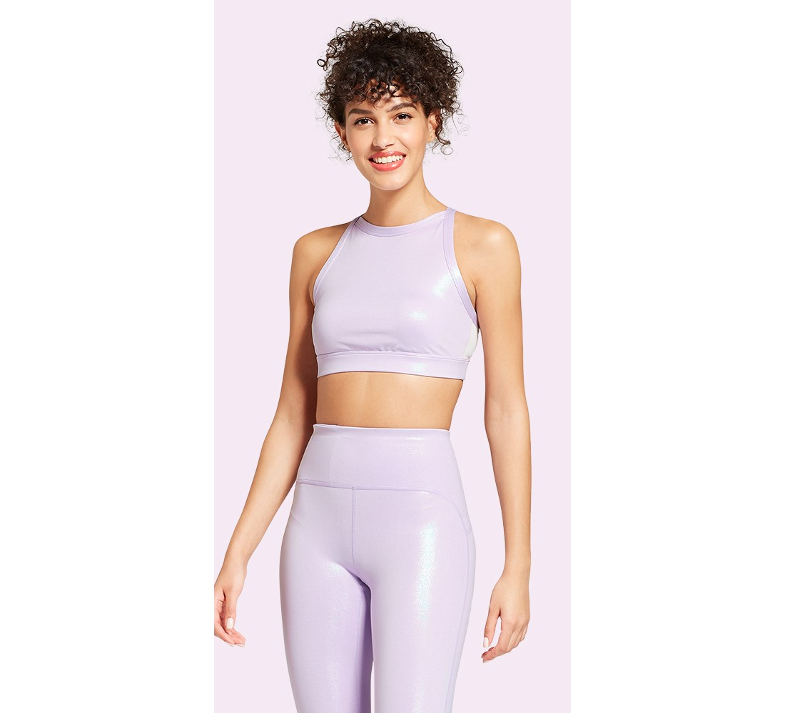 Women's High Neck Shine Sports Bra - JoyLab™ Lavender
