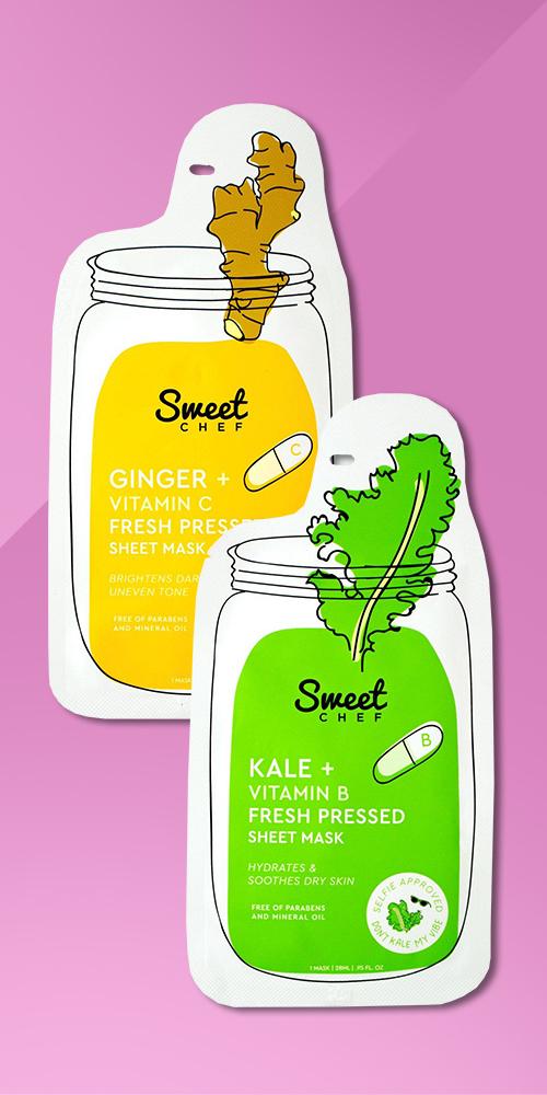 Sweet Chef Ginger Vitamin C Fresh Pressed Sheet Face Mask, Sweet Chef Kale Vitamin B Fresh Pressed Face Mask Sheet