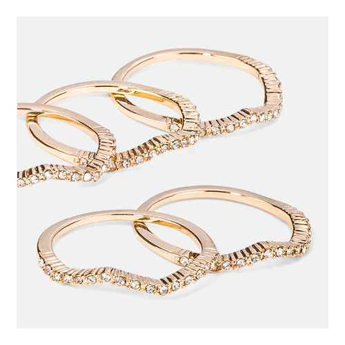 Glass Crystal Ring Set 5pc - A New Day™ Gold 8