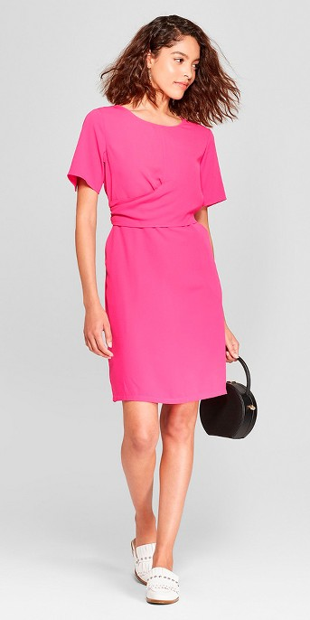 Women's Short Sleeve Twist Front Crepe Dress - A New Day™