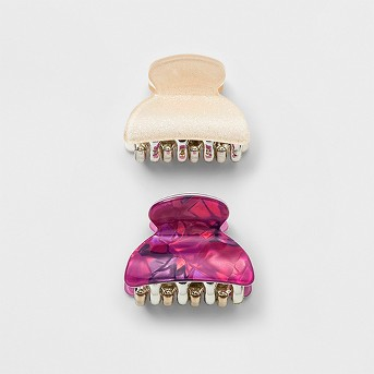Laminated, Glitter, Abalone Claw Clip 2ct - Wild Fable™ Pink