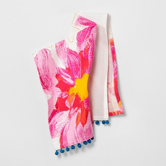 Pink Floral with Blue Pom Tassels Kitchen Towel - Opalhouse™
