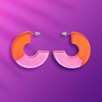 Two Part Translucent Acrylic Disc Hoop Earrings - Wild Fable™