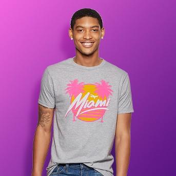 Men's Short Sleeve Miami Photo Print Graphic T-Shirt - Awake Heather Gray