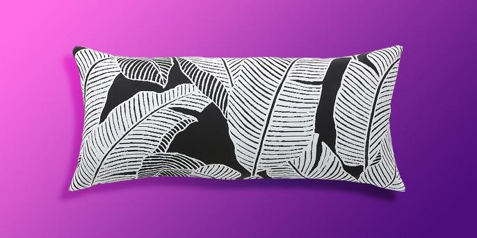 Oversize Lumbar Mod Palm Outdoor Pillow Black - Project 62™