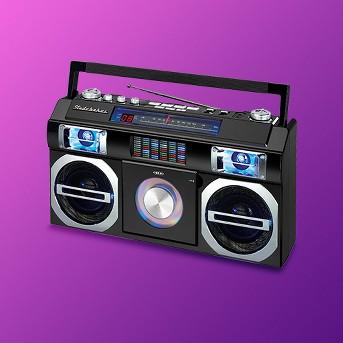 Studebaker 80's Retro Street Bluetooth Boombox with FM Radio, CD Player, LED EQ (SB2145) - Black
