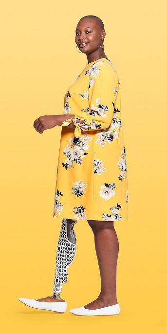 Women's Plus Size Floral Printed Tie Sleeve Crewneck Shift Dress - Ava & Viv™ Yellow