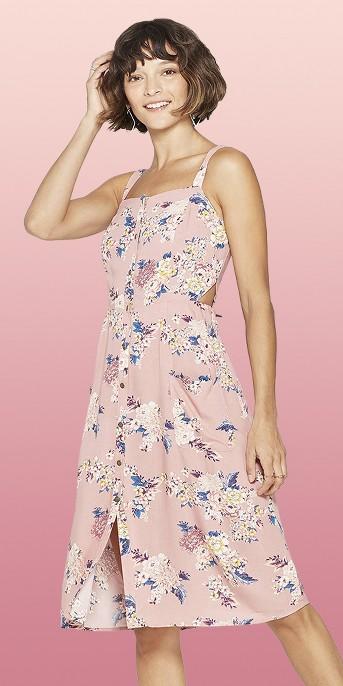 Women's Floral Print Square Neck Strappy Button Front Midi Dress - Xhilaration™ Rose
