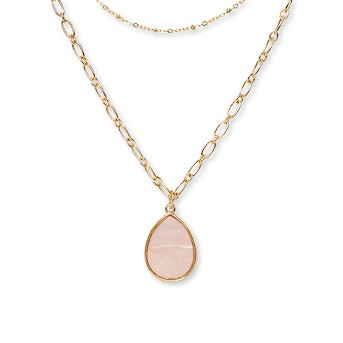 Two Rows and Mother of Pearl Drop Short Necklace - A New Day™ Pink/Gold