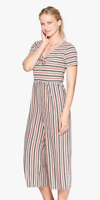 Women's Striped Short Sleeve Tie Front Knit Jumpsuit - Xhilaration™