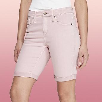 Women's High-Rise Double Cuff Hem Bermuda Jean Shorts - Universal Thread™ Pink