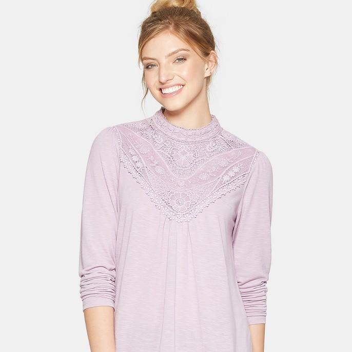 Women's Lace Front High Neck Long Sleeve Knit - Xhilaration™