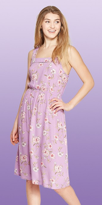 Women's Floral Print Strappy Square Neck Midi Dress - Xhilaration™