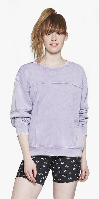 Women's Washed Seam Detail Crew Sweatshirt - Wild Fable™ Purple