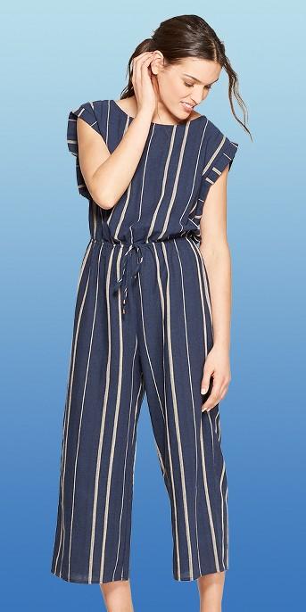 Women's Short Sleeve Scoop Neck Striped Jumpsuit - Universal Thread™ Navy