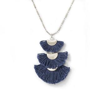 Linear Graduated Size Fan Tassel Pendant Necklace - Universal Thread™ Blue
