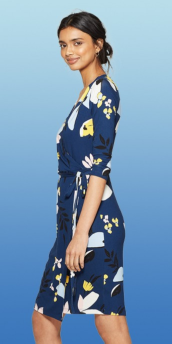Women's Floral Print Long Sleeve Knit Wrap Dress - A New Day™ Navy