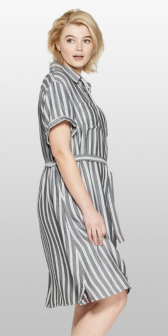 Women's Plus Size Striped Short Sleeve Shirtdress - Ava & Viv™ Gray