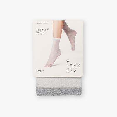 Women's Sparkly Anklet Dress Socks - A New Day™ Light Gray One Size