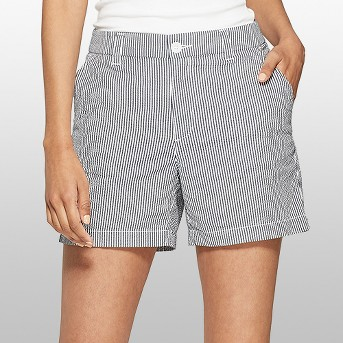 Women's Striped High-Rise Seersucker Chino Shorts - A New Day™ Navy/White