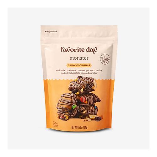 Monster Crunchy Clusters - 6.5oz - Favorite Day™, Milk Chocolate, Caramel, Pretzel Crunchy Clusters - 6.5oz - Favorite Day™, Dark Chocolate Sea Salt Caramels - 11oz - Favorite Day™, Milk Chocolate Covered Mini Pretzels - 7oz - Favorite Day™