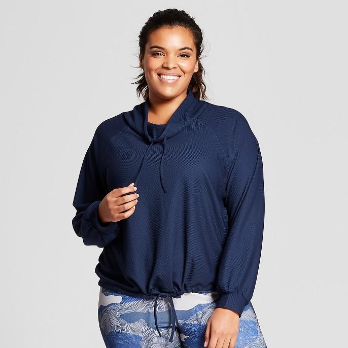 Women's Plus Mesh Pullover Hoodie - JoyLab™ Navy