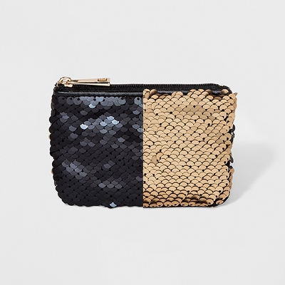 Women's Two Way Sequin Coin Purse - A New Day™ Black