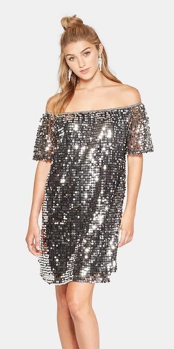 Women's Short Sleeve Off the Shoulder Sequin Dress - Xhilaration™