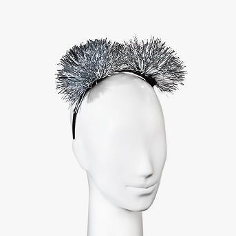 Pom Pom Headband - Silver