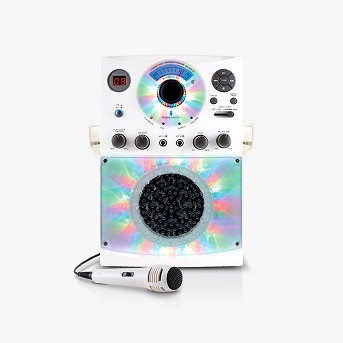 Singing Machine SML385BTBK Bluetooth Karaoke System with LED Disco Lights, CD+G, and Microphone, White