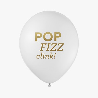 12ct Inklings Paperie® White & Gold Pop Fizz Clink Balloons