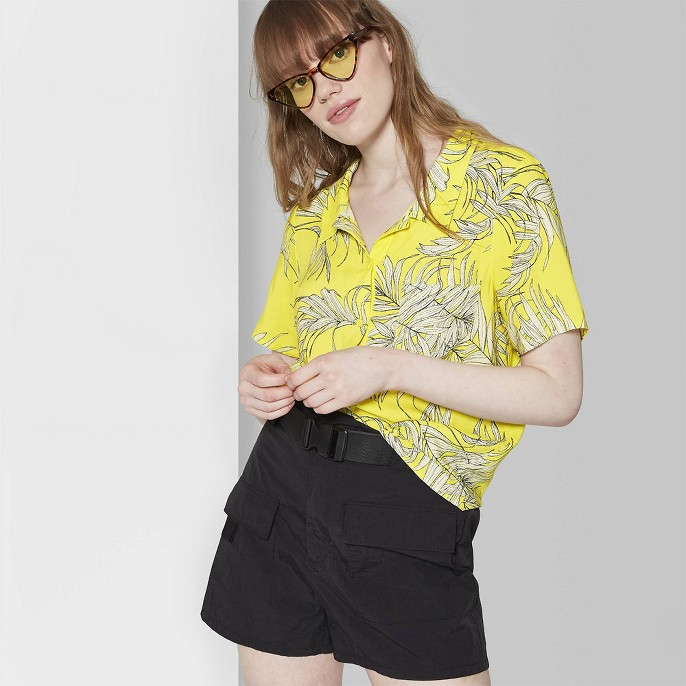 Women's Floral Print Short Sleeve Button-Down Shirt - Wild Fable™ Yellow