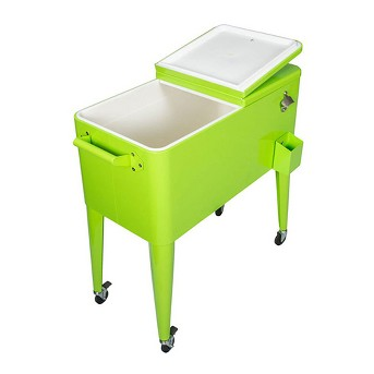 Permasteel 80 Quart 110 Can Steel Coated Rolling Insulated Patio Cooler, Green
