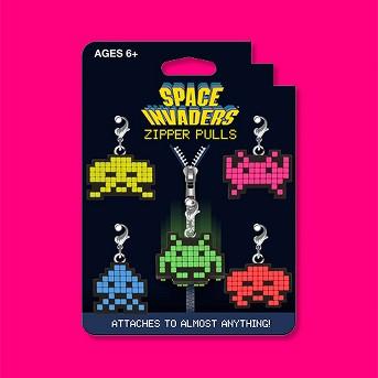 Space Invaders 5pk Zipper Pulls